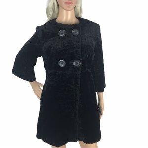 Ann Taylor Black Faux Fur Long Pea Coat Jacket